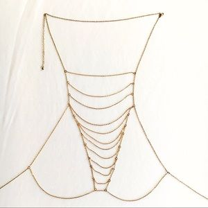 Windsor Layered Bralette Body Chain Gold